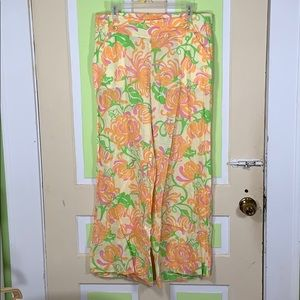 Lilly Pulitzer 100% linen floral pants large